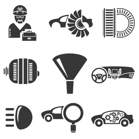 recondition: automotive icons, car parts and garage icons