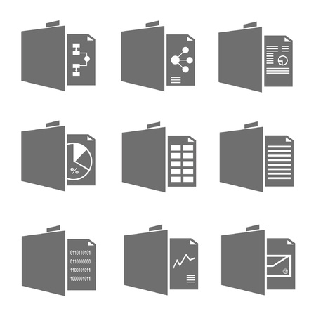 monograph: document icons, folder icons