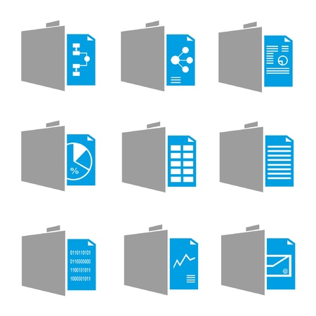 monograph: document icons, folder icons, black and blue theme Illustration