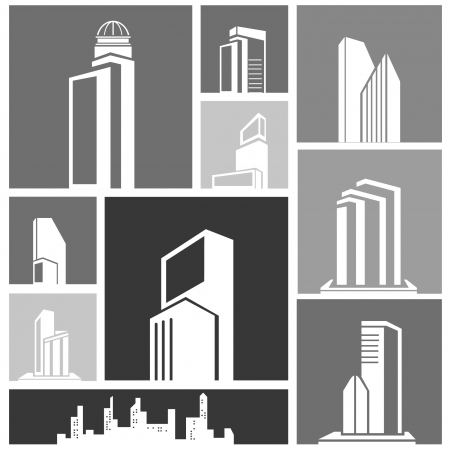 borough: silhouette city, building set