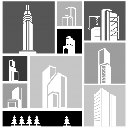 canton: silhouette city, building set