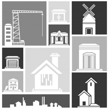 silhouette city, building set Stock Vector - 22321618