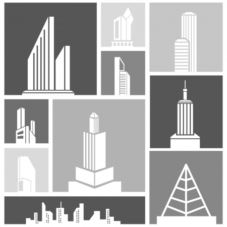 burgh: silhouette city, building set