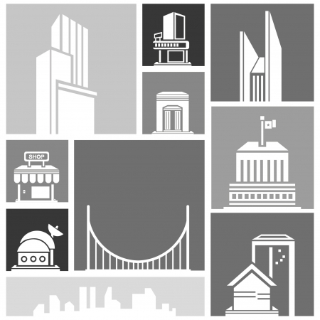 silhouette city, building set Stock Vector - 22321628