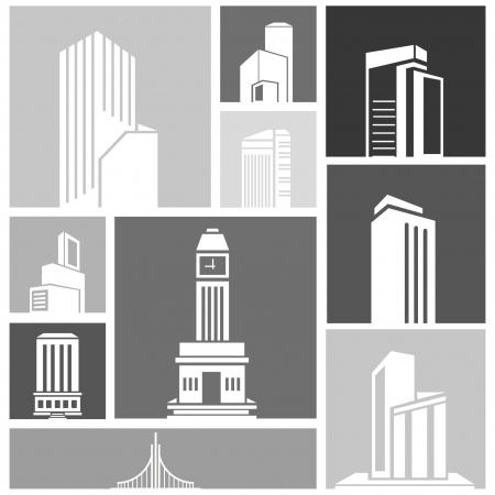 silhouette city, building set Stock Vector - 22321631