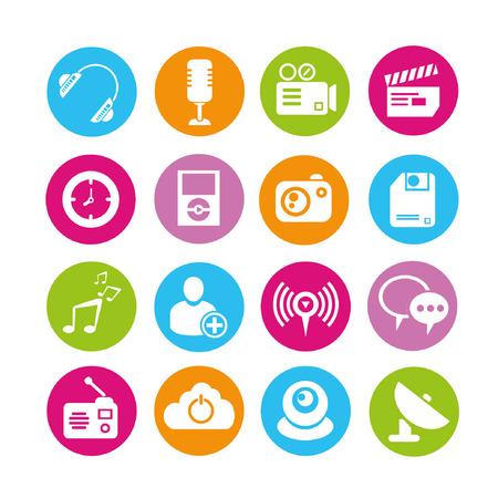 electronics icons set Vector