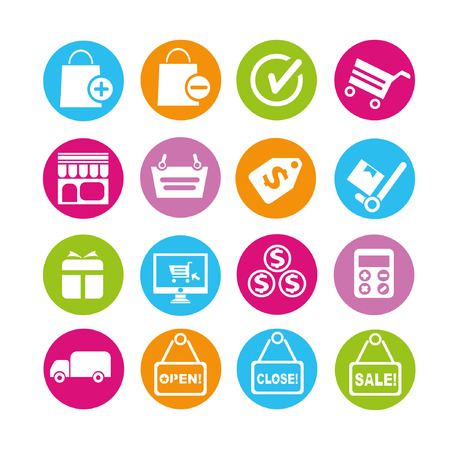 e commerce: e commerce iconen, knoppen instellen
