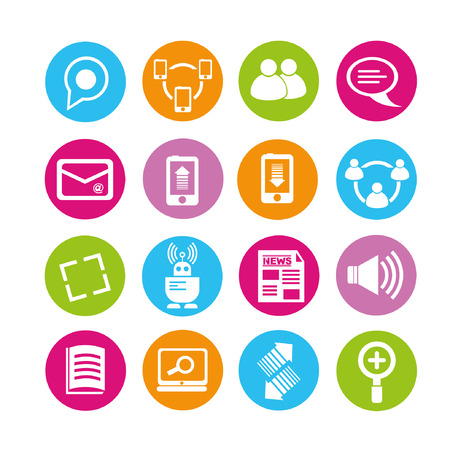 communication and social network icons, buttons set Vector
