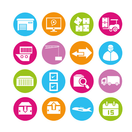shipping management icons, buttons set Stock Vector - 22321780