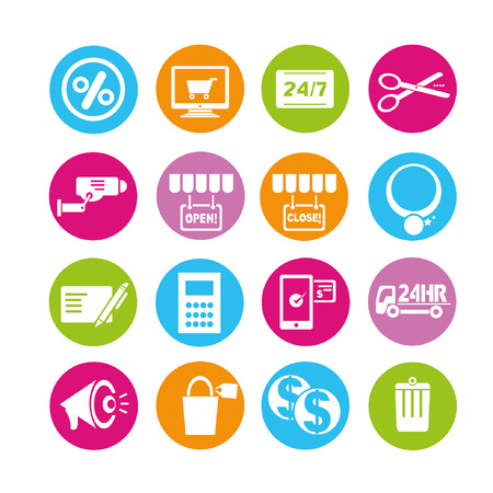 shopping icons, buttons set Vector