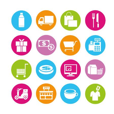 e commerce ikon készlet, gombok beállítása