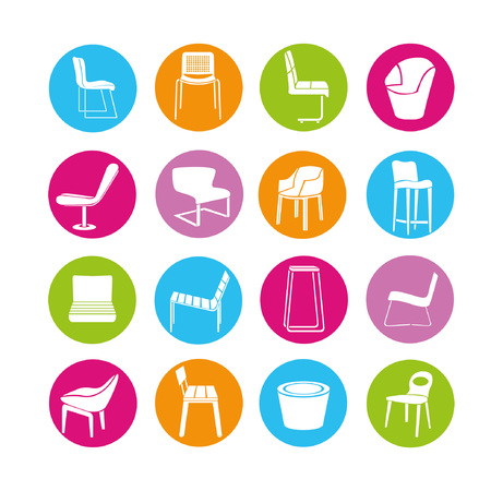 chair buttons set Ilustrace