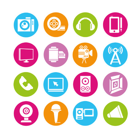 telephone mast: media icons set, buttons set Illustration