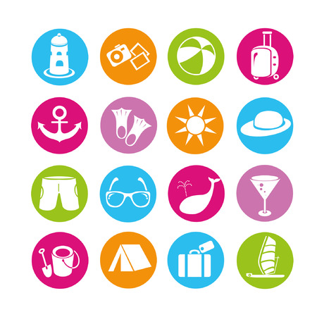 travel icons set, buttons Vector