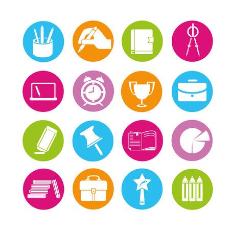 papírnictví: vzdělávání ikony set, tlačítka