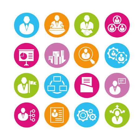 resume: organization and human resource management icons, buttons set