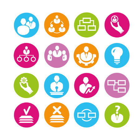 employee development: organization management icons, buttons set