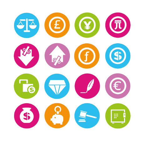 financial icons, buttons set Vector