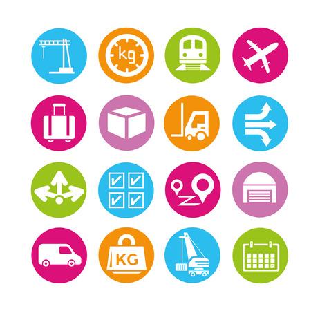 kg: logistics icons, buttons set Illustration