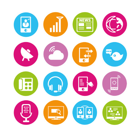 world wide web: social media and communication icons, buttons set Illustration