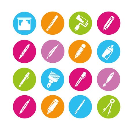 mark pen: writing tools icons set, buttons Illustration