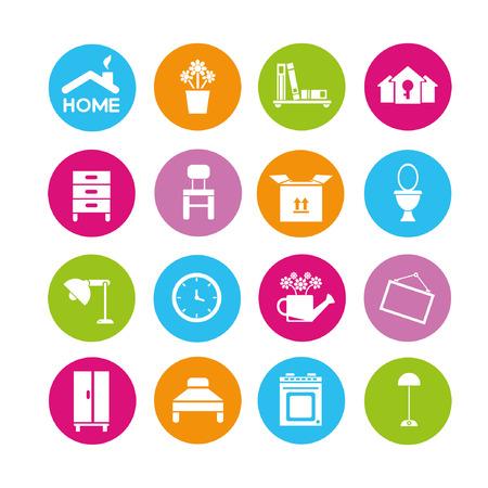 home design icons set, buttons Illustration