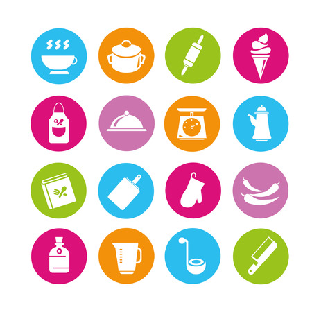 food icons set, buttons