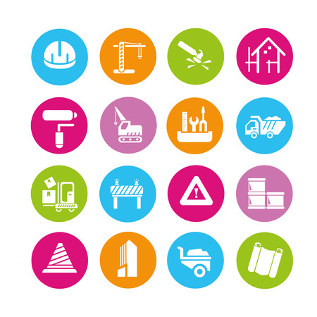 construction icons set, buttons Vector
