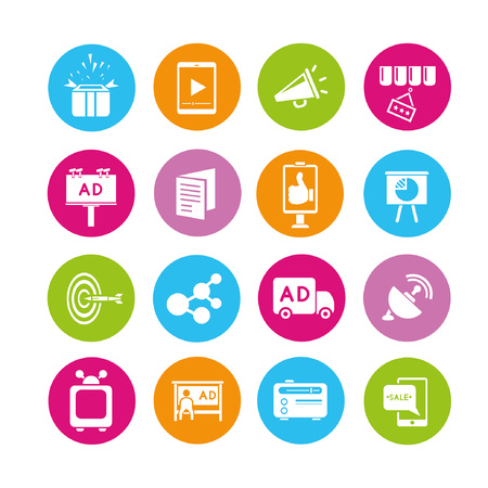 online marketing: marketing icons set, buttons