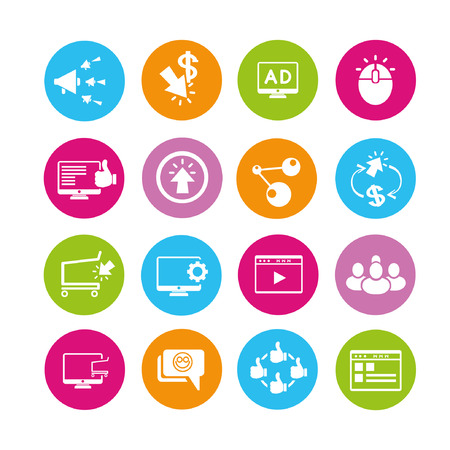 online marketing icons set, buttons Vector