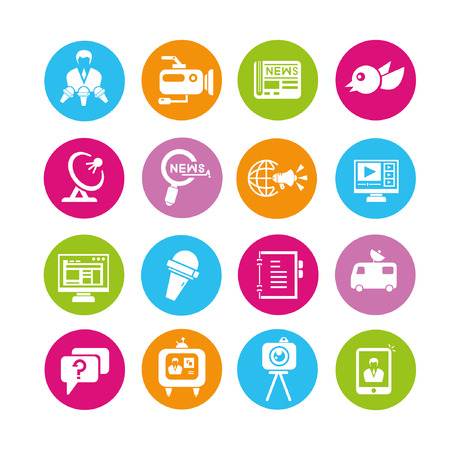 news icons set, buttons Vector