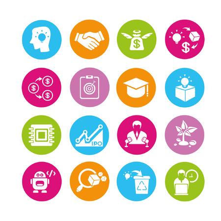 emprendimiento: inicio y los iconos conjunto empresario, botones