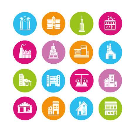 building icons set, buttons Stock Vector - 22321888