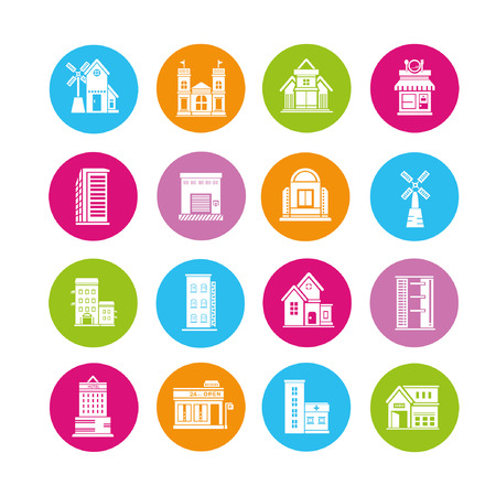 building icons set, buttons