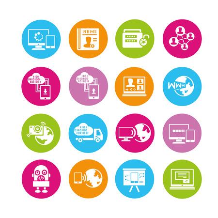 programing: social media icons set, buttons