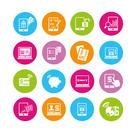 banking icons set, buttons Stock Vector - 22321931