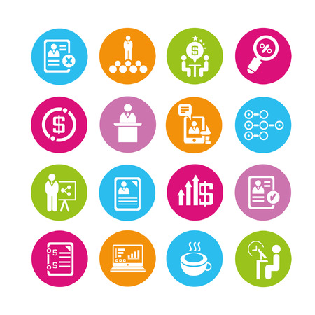 business management icons set, buttons Illustration