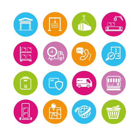 shipping icons set, buttons Stock Vector - 22321958