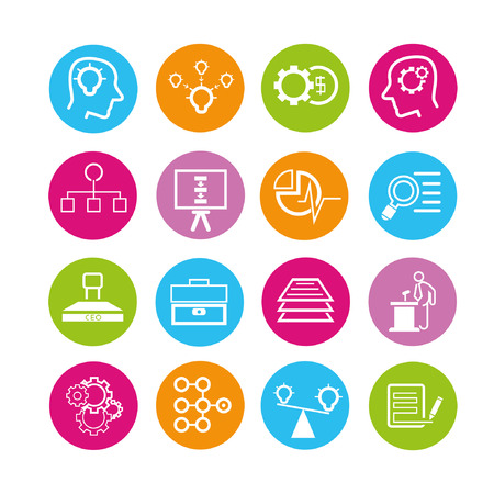 business solution icons set, buttons