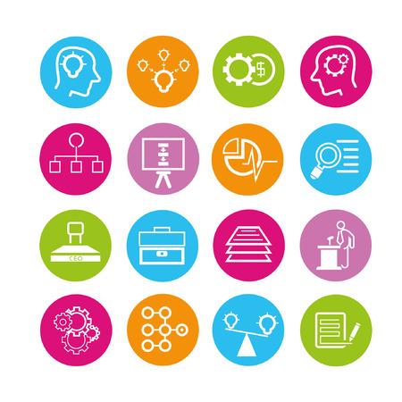 solución de negocio conjunto de iconos, botones Ilustración de vector