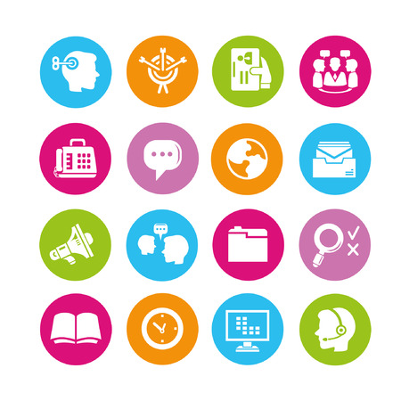 business management icons set, buttons Vector
