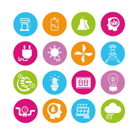 pluviometro: set iconos de energía, botones