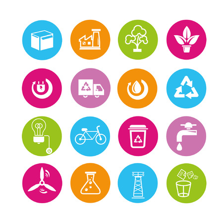 energy icons set, buttons Vector
