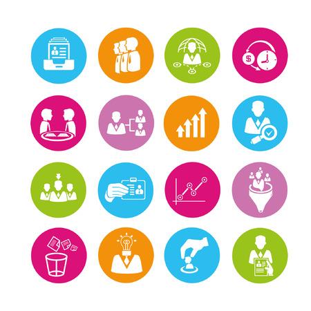 üzleti menedzsment és az emberi erőforrás ikon készlet, gombok Illusztráció