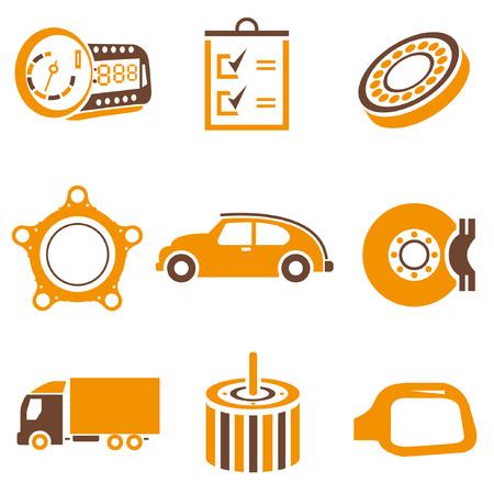 motor de carro: iconos AUTO SET, el tema de naranja Vectores