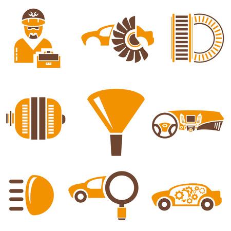 recondition: auto icons set, orange theme Illustration