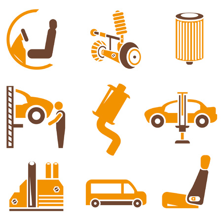 auto filter: auto icons set, orange theme Illustration