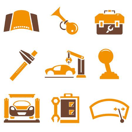 hand wash: auto icons set, orange theme Illustration