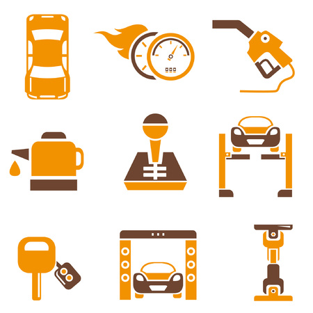 auto icons set, orange theme Vector