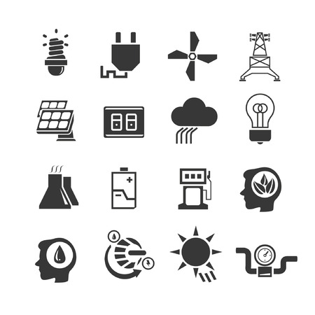 pluviometro: conjunto de iconos de la energía, va verde